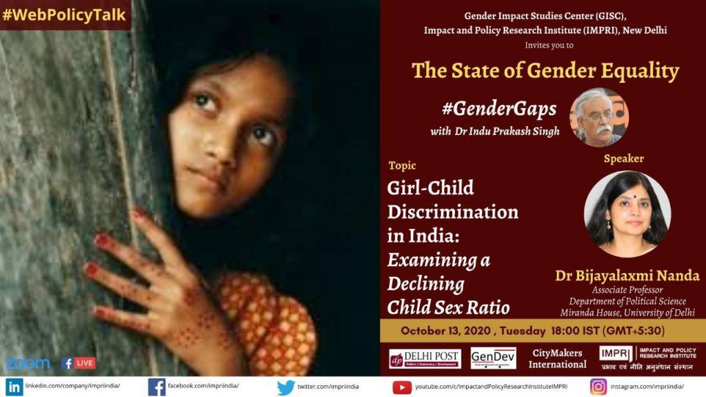 #GenderGaps_Girl-Child Discrimination in India: Examining a Declining Child Sex Ratio_Prof Rekha Pande