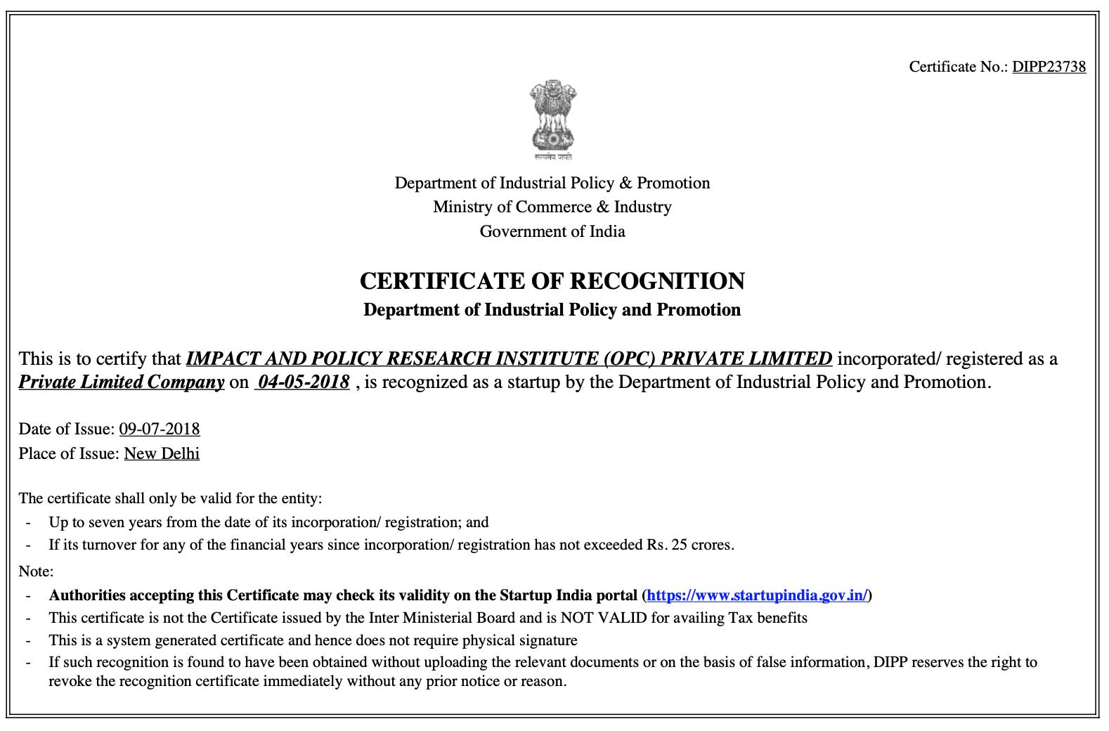 IMPRI-StartUp Recognition