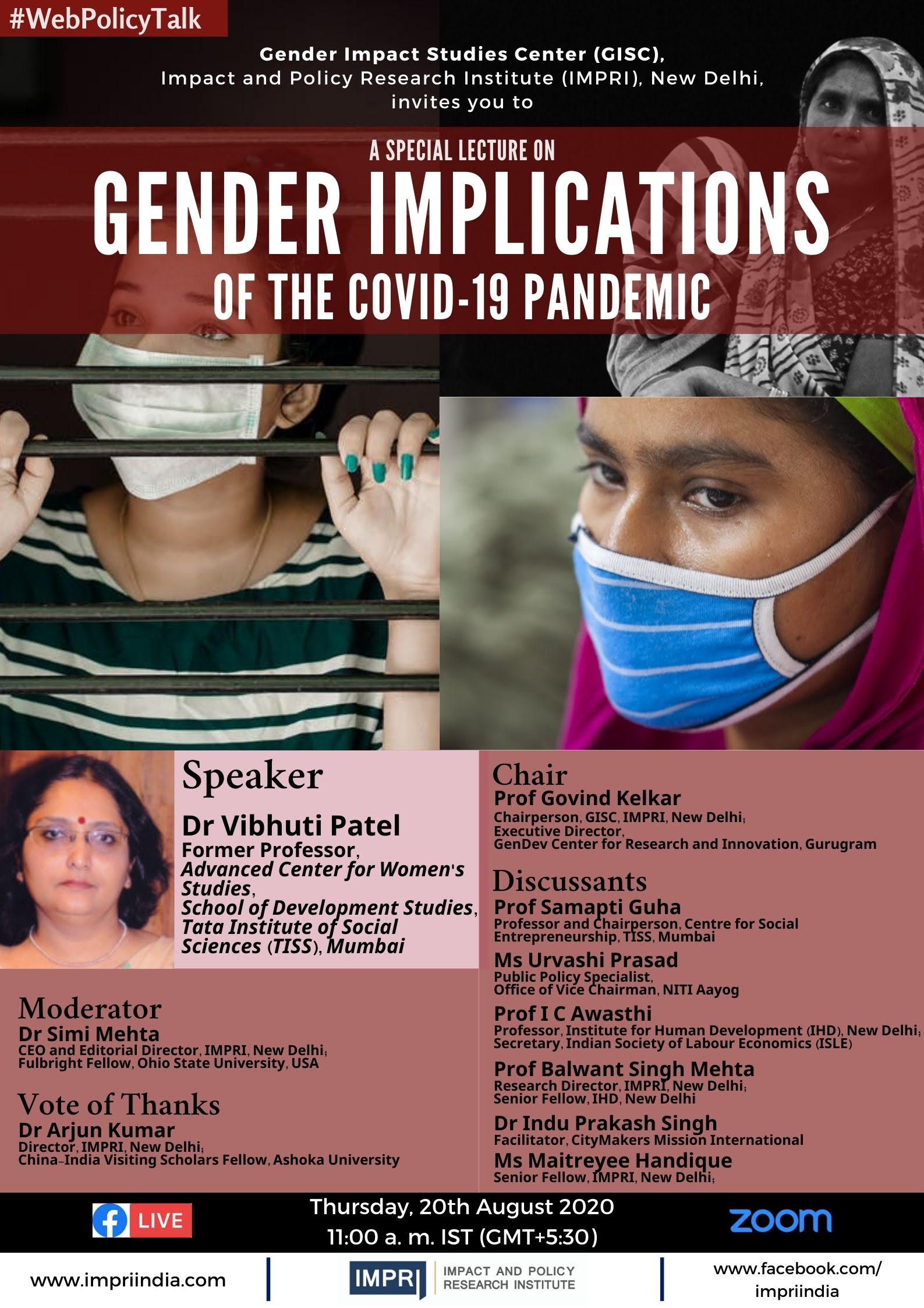 Panelists for Gender Implications of COVID 19