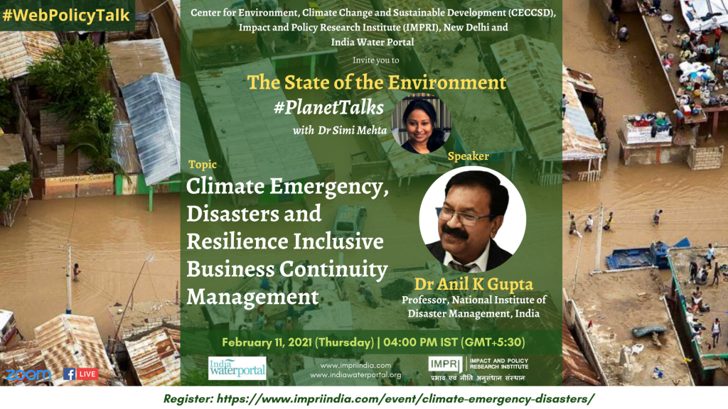 Poster 2_Anil K Gupta_Climate Emergency and Disasters