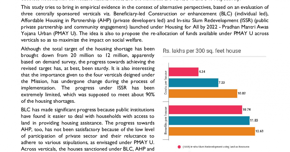 Cost-benefit analysis of housing vertical interventions for urban poor in large cities of Andhra Pradesh