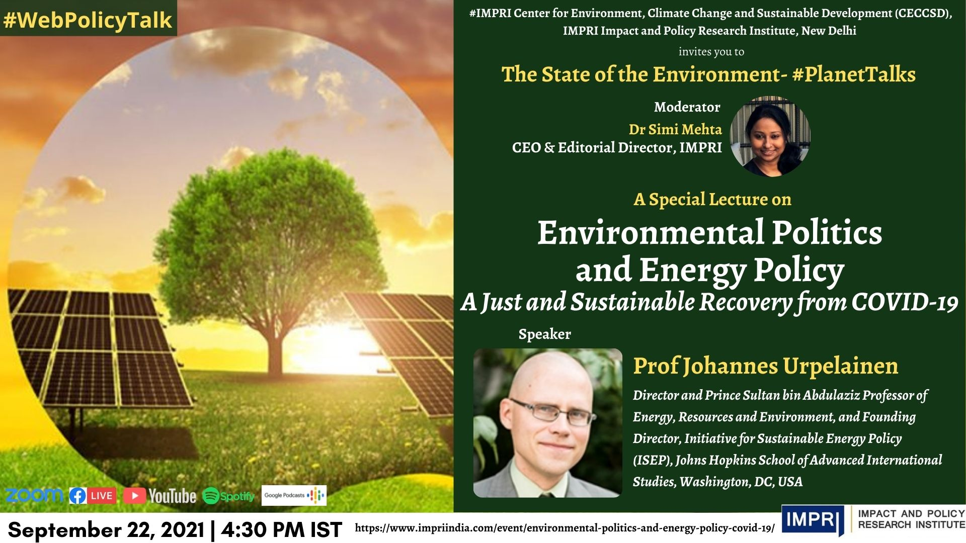 Environmental Politics and Energy Policy: A Just and Sustainable Recovery from COVID-19